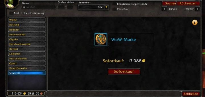 WoW-Marke Sofortkauf